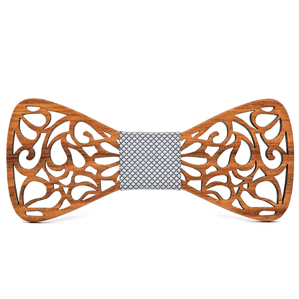 MAHOOSIVE Wood Bow Tie Flower Creative Wedding Wooden BowTie Necktie