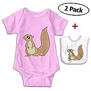 Carmen Belinda Squirrels Baby Boys & Girls Short Sleeve Romper Jumpsuit Bodysuit Playsuit Outfits (with Bibs) Pink