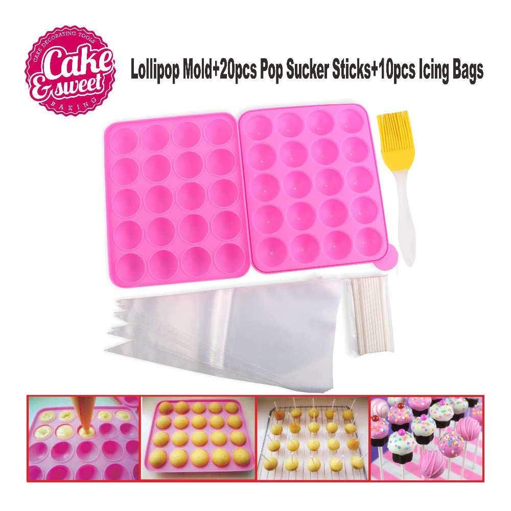 1 Set 32pcs/set Eco-Friendly Silicone Cake Pop mold Lollipop Mold and Icing Bags Set 20 Holes Mould Cupcake Chocolate DIY Baking Tray
