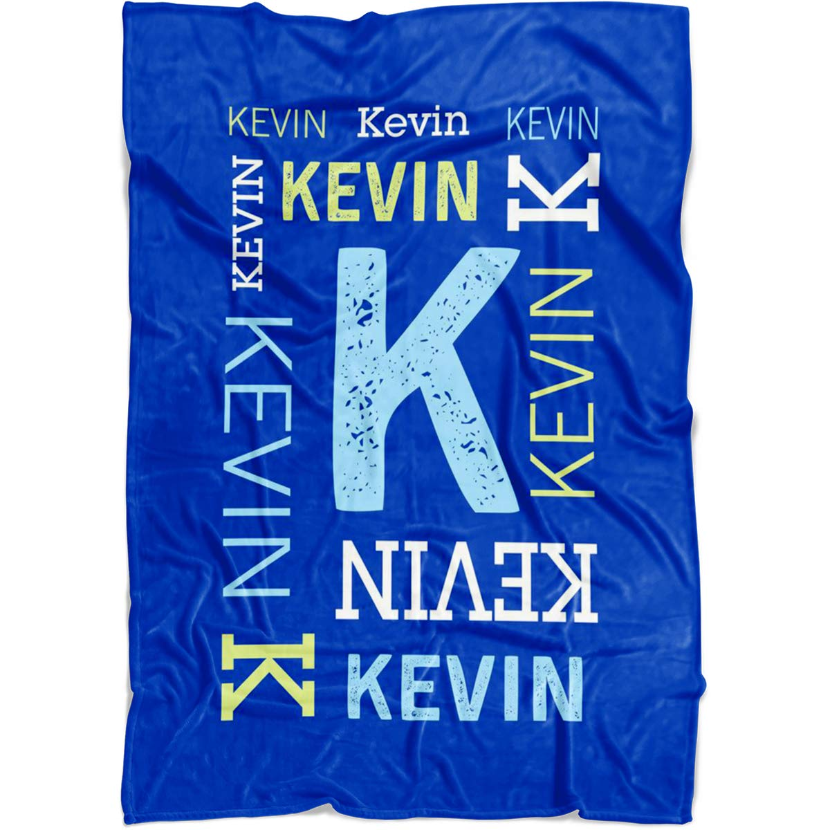 Personalized Name Blanket for Baby Boy Girl and Kids. Custom Name Blanket from Your Baby's Name. Repeating Name Customized Fleece Throw. Gift for Birthday, New Dad, New Mom, Christmas (Blue) by Yeh Gift