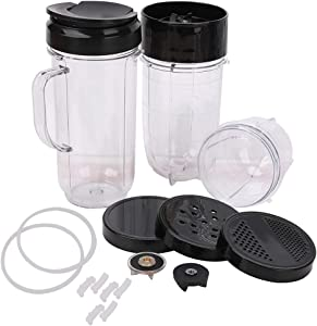 18 Pack Blender 22oz 16oz 12oz Cups & Cross Blade & Lids & Gear & Gaskets & Shock Pads Replacement Part Accessories Compatible with Magic Bullet 250W MB1001 Series Juicer
