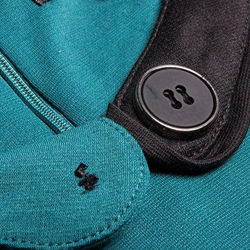 Les Femmes Bewish Colorblock Bouton Décoration Cou Irrégulière Robe Crayon De Travail De Bureau Vert