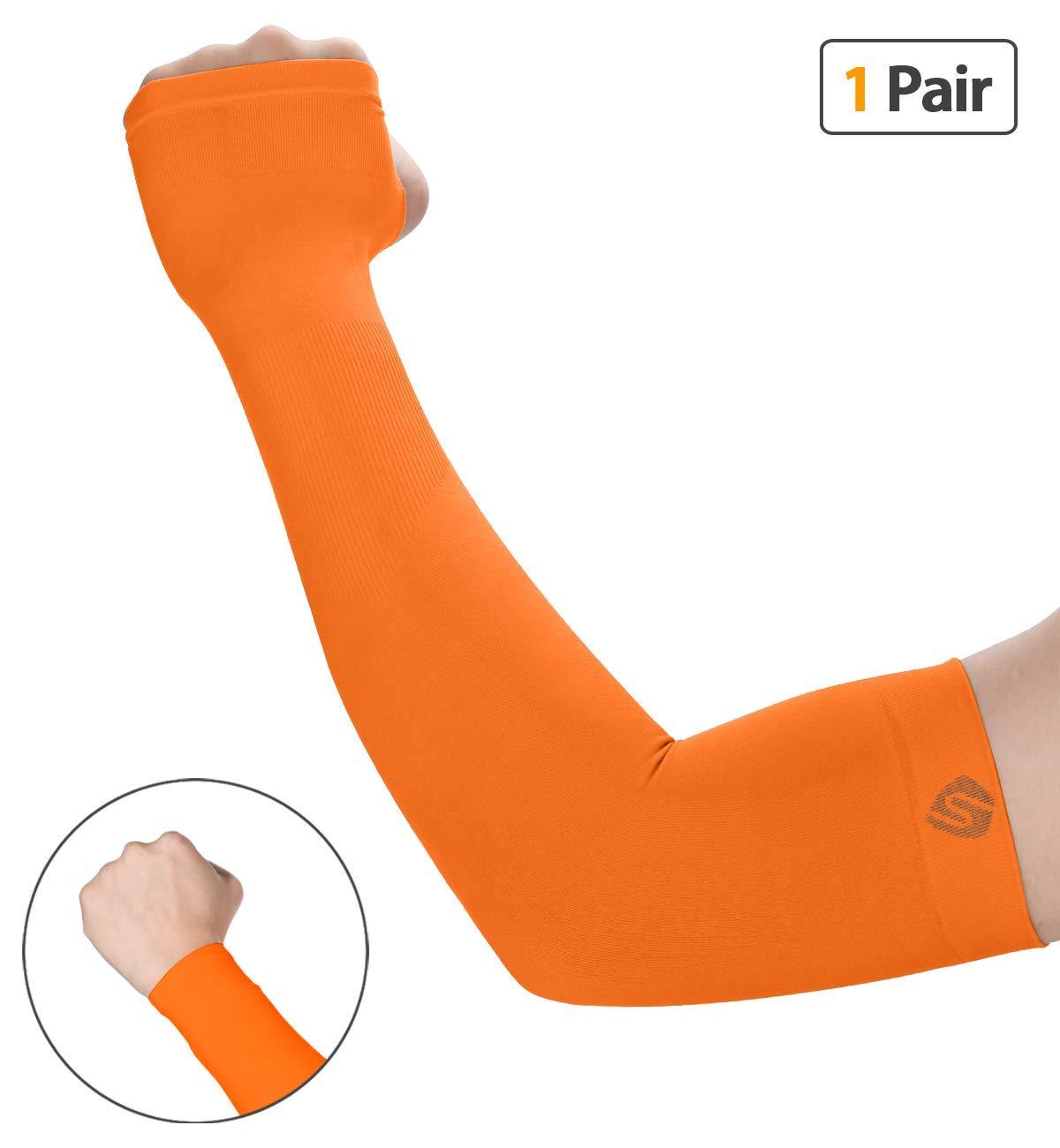 shinymod UV保護バスケットボールの冷却アームスリーブメンズレディースSunblockクーラー保護用スポーツ手袋ランニングゴルフサイクリング運転釣り1ペア/ 3ペアLong Tattooカバー袖 B0719Q56M2 1 Pair Orange  1 Pair Orange