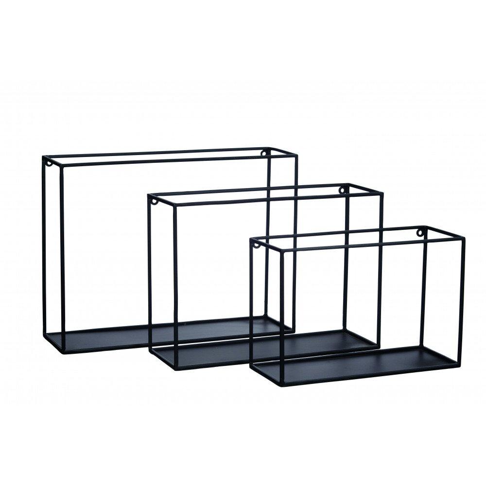 Pomax Deko Wandregal Regal-Set aus Metall, 3-TLG - schwarz schwarz schwarz 6dd2b7