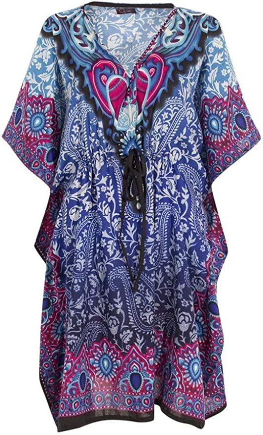 Ethnique Mode Kaftan Femme Longues Oriental Style Caftan Polyester Boubou Africaine Robe ete Kaftan djellaba Femme Boheme Plage Beachwear Oversize Caftan