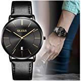 OLEVS Men's Ultra Thin Fashion Minimalist Wrist Watches and Luxury Leather Watches - Waterproof Quartz Casual Watch Simple Leather Band Watch Mens