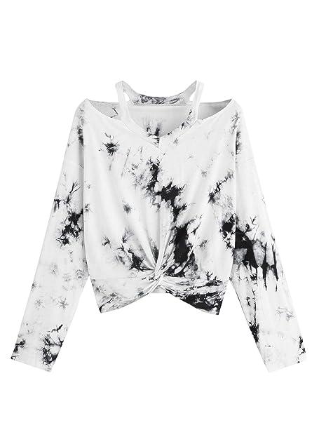 d57a8082ca5 Verdusa Women's Long Sleeve V Neck Twist Front Crop Tee Tops T-Shirt ...