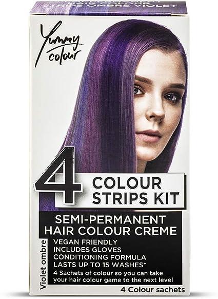Stargazer Yummy Colour - Juego de tiras semipermanentes para teñir el cabello, color violeta