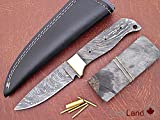 ColdLand | 8.5'' Custom Handmade Damascus Steel Blank Blade Kit Knife Making Suppllies with Sheath, Brass Pins and Handle Scales SK102-5