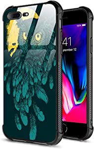 DAHAOGUO iPhone 7 Case,iPhone 8 Case,9H Tempered Glass Back Cover Pattern Design +Shock Absorption Bumper Protective Case Compatible for iPhone 7/8 Owl Feathers