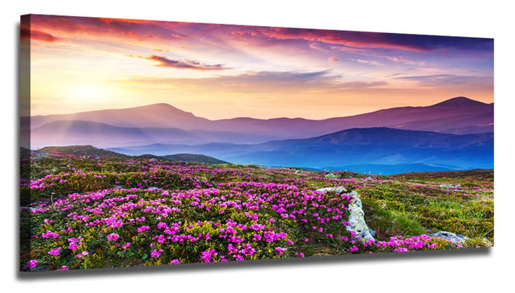 Ardemy Canvas Wall Art Purple Mountain Landscape Picture Prints Modern One Panel Framed Painting, Stunning Wildflowers Scenery Artwork Ready to Hang for Living Room Bedroom Kitchen Home Office Decor