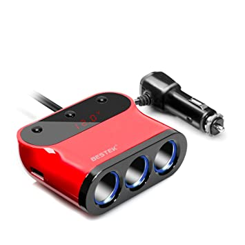 BESTEK 12V Cargador Mechero de Coche con 3 Encendedores y 2 Puertos USB con 3 Interruptores Independientes y Pantalla LED