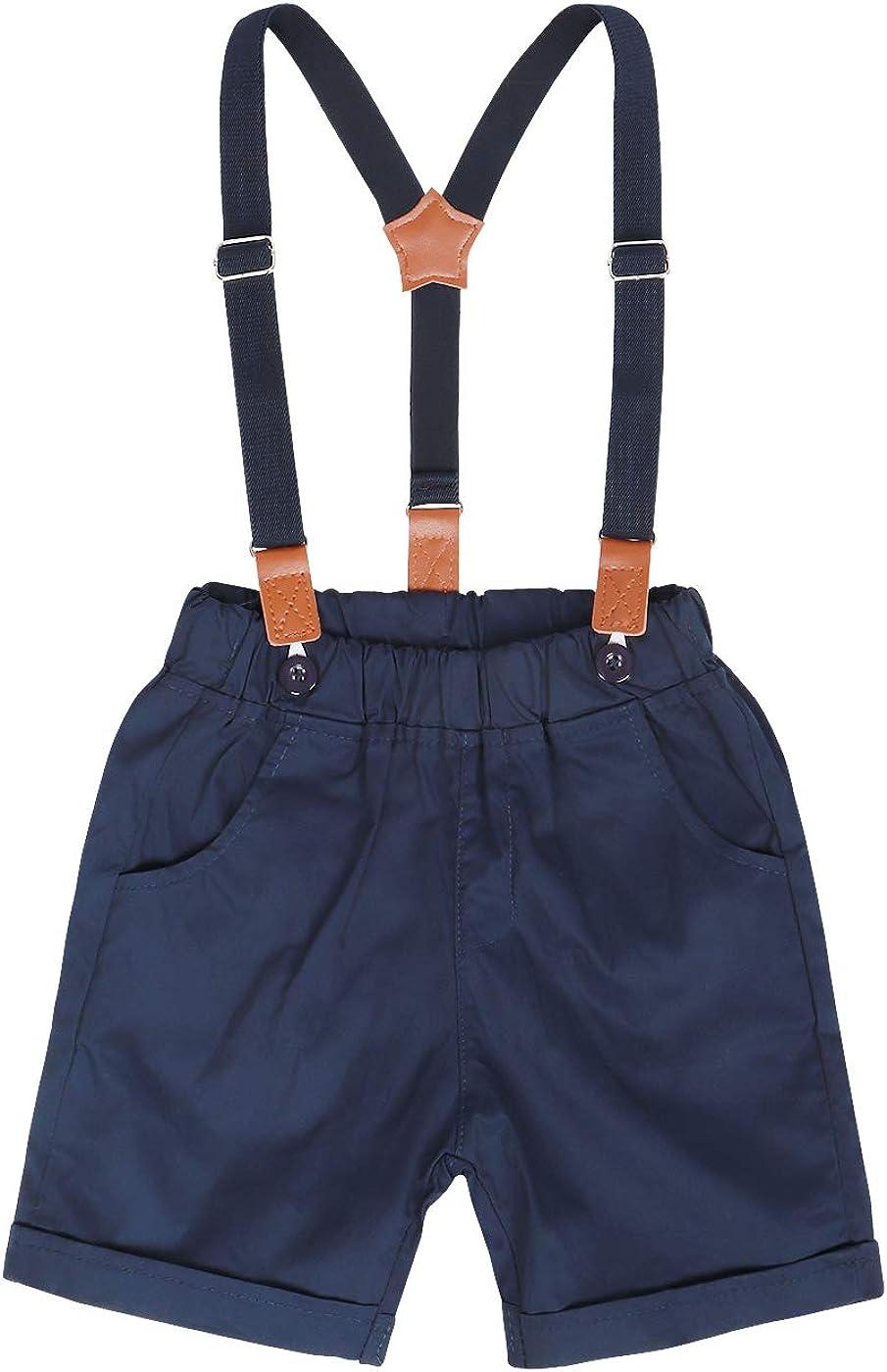 Kantenia Baby Boys Tuxedo Rompers Suit Short Sleeve Top Bowtie Romper Suspender Short Pant Wedding Birthday Set