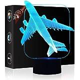 Flugzeug Geschenk Nachtlicht 3D neben Tischlampe Illusion, Jawell 7 Farben ändern Touch Switch Schreibtisch Dekoration Lampen Geburtstag Weihnachtsgeschenk mit Acryl Flat & ABS Base & USB Kabel