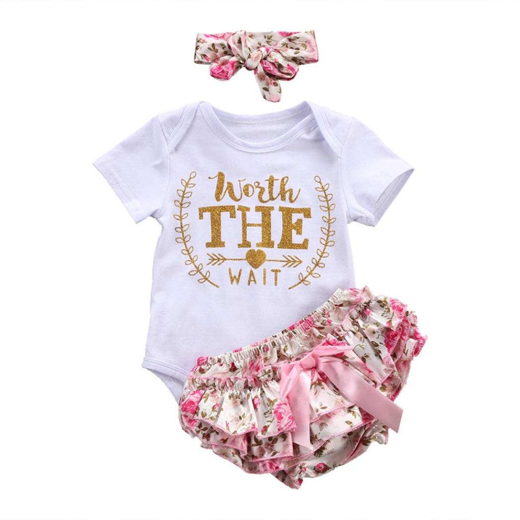 Hevoiok Newborn Infant Baby Girls Romper Cute Fashion O Neck Short Sleeve Letters Print Jumpsuits + Bowknot Headband + Floral Print Shorts 3Pcs Outfits