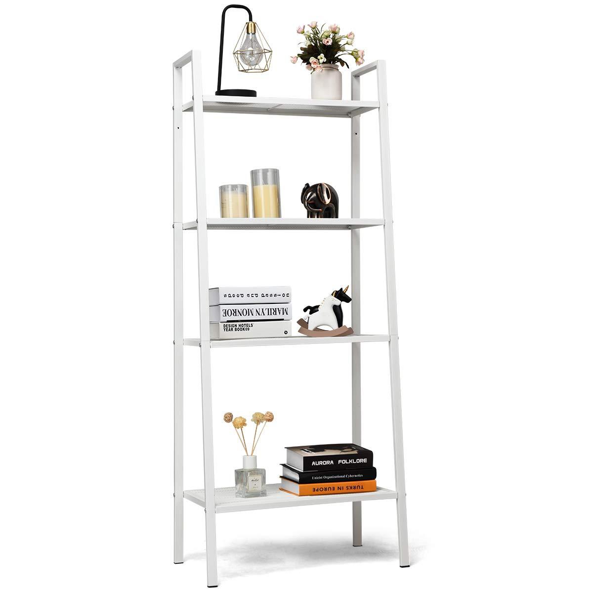 Tangkula 4-Tier Metal Ladder Shelf, Multifunctional Storage Rack, Bookshelf with Metal Mesh Layers, Display Stand Furniture Storage Shelves, Flower Rack Plant Stand (White) by Tangkula