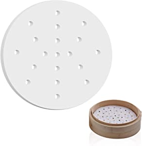 200 pcs Air Fryer Liners, 6 Inches Perforated Parchment Paper Sheets Non-stick Steamer Mat for Baking/Steaming/Cooking