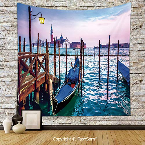 Tapestry Wall Hanging Dreamy Evening View of Famous Italian City Architecture Water and Gondolas Tapestries Dorm Living Room Bedroom(W51xL59) ()