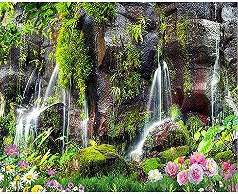 Finloveg 3 D Foto Wallpaper Mural Vista Del Jardín Cascada Foto Hd Paisaje Sofá Tv Fondo De Pared 3 D Wallpaper Mural-150X120Cm: Amazon.es: Bricolaje y herramientas