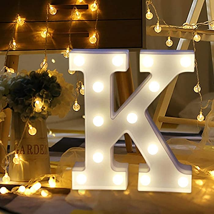 Amzure LED Marquee Letter Lights Sign 26 Alphabet Light Up Letters Sign for Night Light Wedding Birthday Party Battery Powered Christmas Lamp Home Bar Decoration (K)