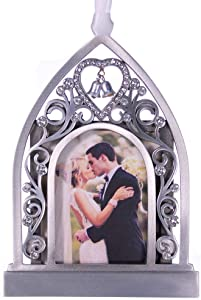 "Liberty Pewter Wedding Chapel Photo Ornament 3.5"" x 4.5"" Made in USA"