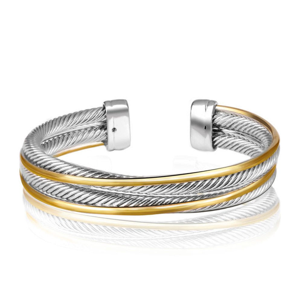 UNY Vintage Fashion Twisted Cable Wire Bracelet New Antique Design Elegant Unique Retro Cuff Bracelet by UNY