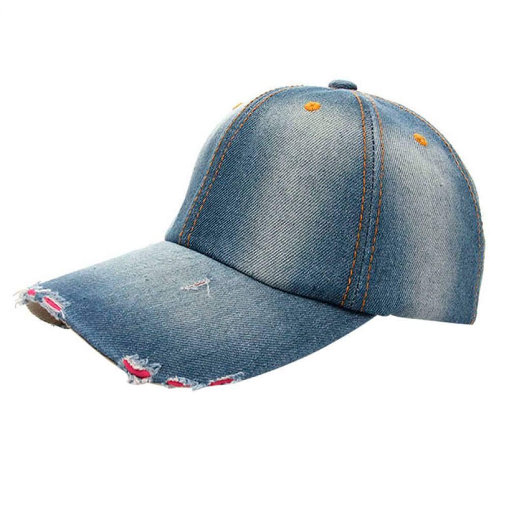 ZSOLOZ Baseball Caps Baseball Cap New Unisex Ponytail Trucker Ponycaps Plain Denim Baseball Cap Hip Hop Flat Hat Fanshion