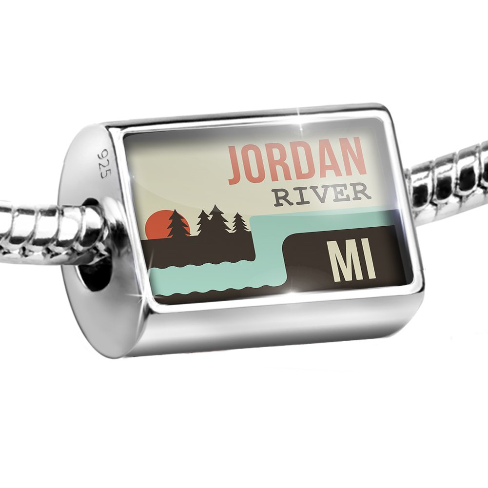 Sterling Silver Bead USA Rivers Jordan River - Michigan Charm Fits All European Bracelets