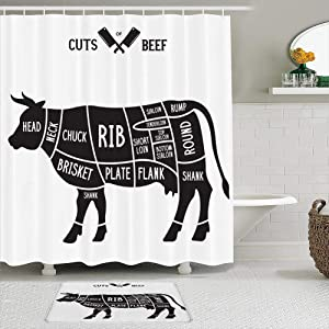 SURERUIM Shower Curtain Sets with Non-Slip Rugs,Loin Cow Meat Cuts Cook Beef Diagrams Cooking Rib Farm Cut Butcher Food Scheme Cattle,Waterproof Bath Curtains Hooks and Bath Mat Rug Included