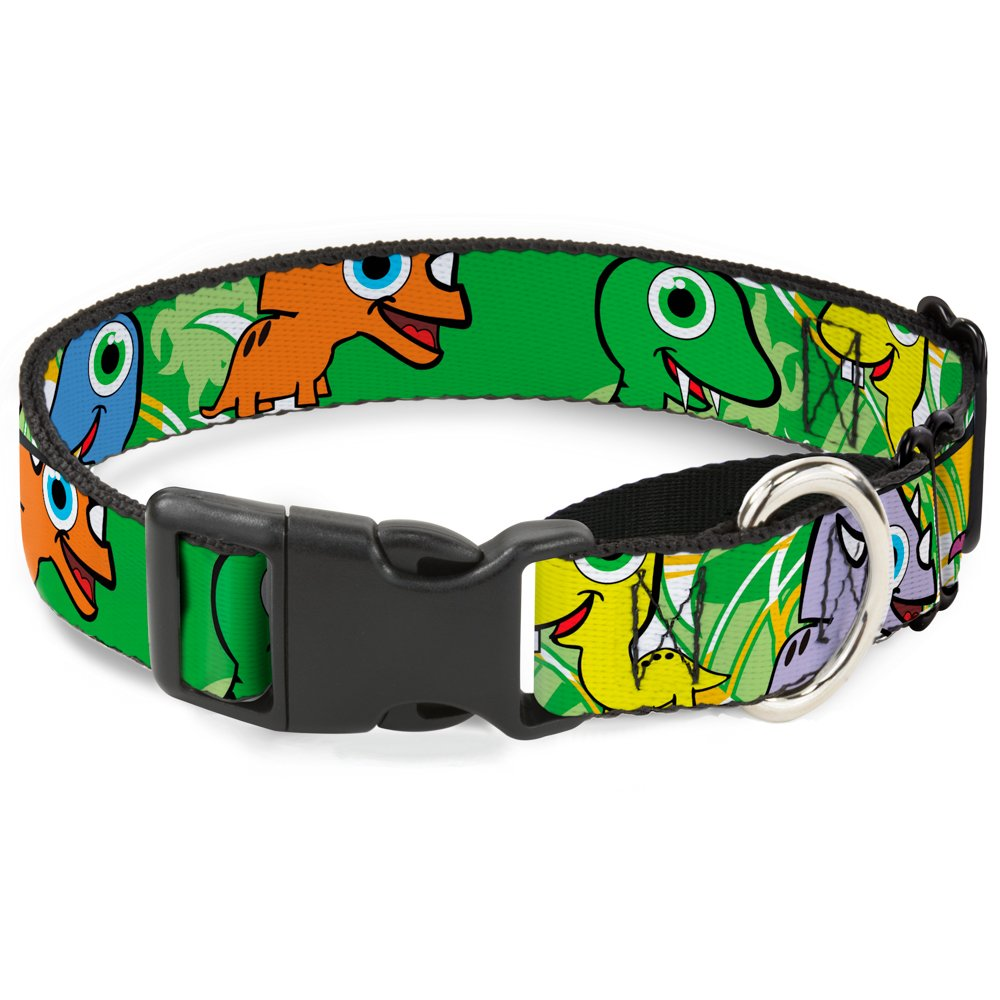Buckle-Down Cute Dinosaurs Yellowith Green Martingale Dog Collar, 1  Wide-Fits 11-17  Neck-Medium