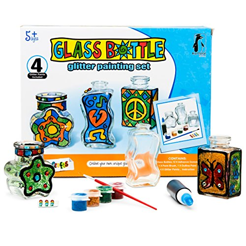 DIY Painting Stained Glass Bottles, Arts and Crafts Kit for Adults and Kids, Paint Glass Decorative Bottles, Paint Your Own Vase Craft Set, Complete Craft Project For Boys and Girls of All Ages