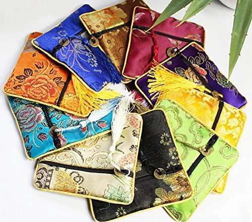 jenifer2015 Assorted Color Oriental Silk Embroidered Brocade Zipper Jewelry Coin Pouch Wallet (8 pcs Silk Coin Pouch)