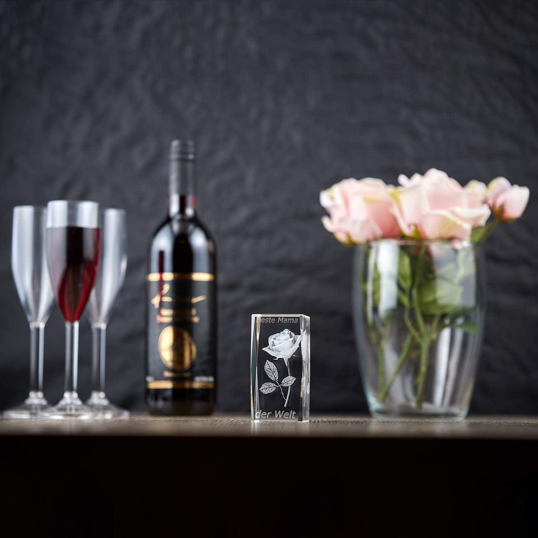 Pokale Fischer Kristall Glas 3D Gravur Rose Personalisierte Geschenke f/ür Frauen und M/änner Liebesbeweis zur Hochzeit Valentinstag Jahrestag Muttertag 10 x 5 x 5 cm