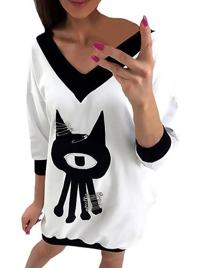 Mujer Tops Elegantes Suelto Otoño Invierno Chica Largos Camisetas Blusa Manga 3/4 Fiesta Estilo