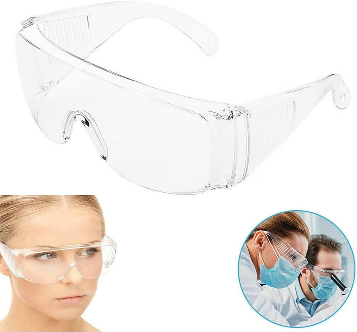 Details about  /2X Clear Anti Safety Goggles Glasses Eye Protection Work Lab Dust Clear Lens