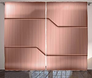 Ambesonne Industrial Curtains, Realistic Looking Steel Surface Print Plate Bar Image Technology Inspired Design, Living Room Bedroom Window Drapes 2 Panel Set, 108 W X 108 L Inches, Rose Gold