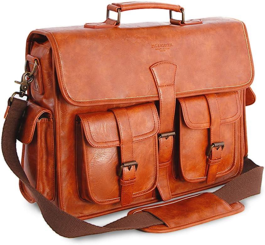 Mens Messenger Bag 17 Inch Vintage Handmade PU Briefcase for Laptop Best Computer Satchel for Business Travel and School Brown