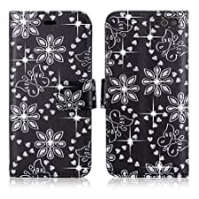Cellularvilla Wallet Case for Amazon Fire Phone Pu Leather Wallet Card Flip Open Pocket Case Cover Pouch + Stylus Touch Pen (Black Glitter)