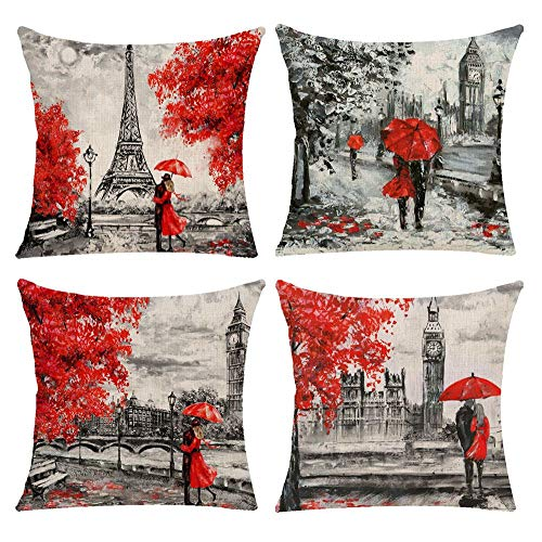 Decorative Red Throw Pillow Covers 18x18 Inches Black & Red Color Eiffel Tower & Big Ben Lovers Pillow Case Cushion Cover Burlap for Sofa, Living Room, Bedroom, Indoor or Outdoor Pillowcase, Set of 4 (Red Throw Pillow)
