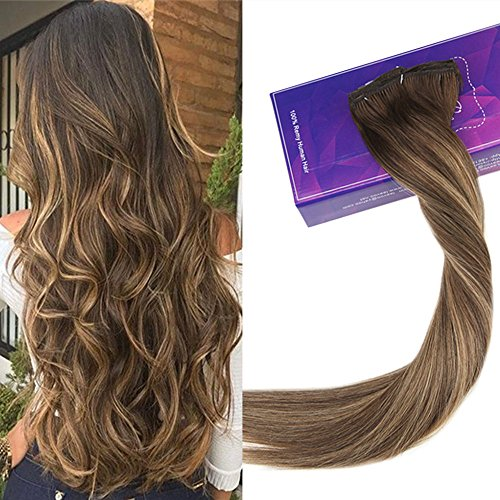 "Price comparison product image LaaVoo 14"" 120g Remy Human Hair Clip in Extensions Balayage Ombre Color Chocolate Brown #4 to Caramel Blonde #27 7pcs Full Head"