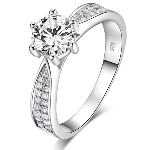Sreema London 925 Sterling Silver Brilliant Round Cut Crystals Solitaire Promise Forever Eternity Engagement Wedding Rings for Women, Teenage Girls, Size UK with Gift Box, Ideal Gift for Lovers