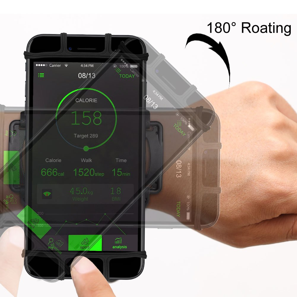 VUP Cell Phone Holder Wristband for iPhone XS Max/XS/XR/X/6S/7/8 Plus, Galaxy S10/S10+/S10e/S9/S9+/S8 Note 9/8/J7, LG G6, Google Pixel 3 XL, 180 Rotatable Armband for 4.0''~6.5'' Mobile Phone by VUP