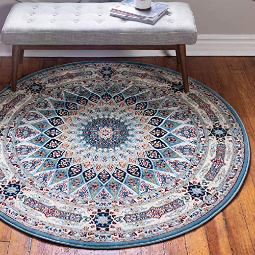 Unique Loom Narenj Collection Classic Traditional Medallion Textured Blue Round Rug (10' 0 x 10' 0) (10 Diameter Rug)