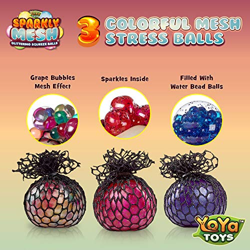 Sparkly Mesh Stress Balls 3-Pack – Squishy Balls with Water Beads and Glitter – Colorful Anti-Stress Squeeze Grape Balls…