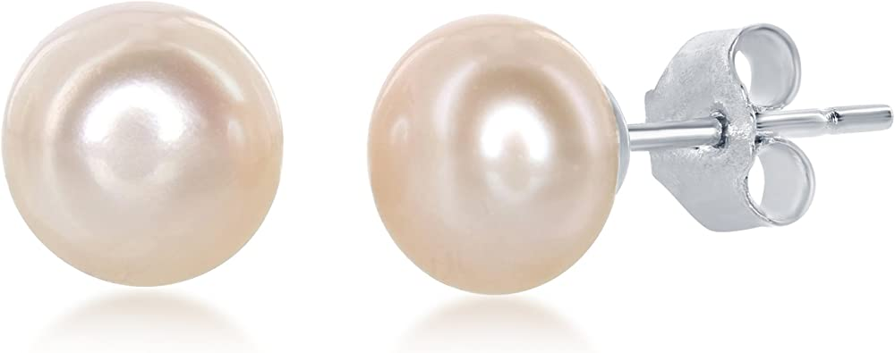 Solid 925 Sterling Silver 5-6mm White FW Cultured Round Simulated Pearl Stud Earrings