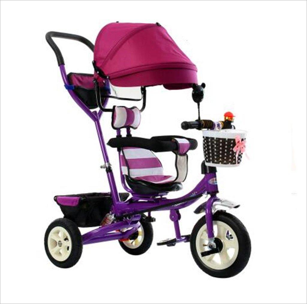 三輪車の赤ちゃんキャリッジバイク子供のおもちゃのトロリーインフレータブルホイール自転車3ホイール、回転可能な座席/折り畳み式(ボーイ/ガール、1-3-5歳) (色 : A) B07DVMJNGPA