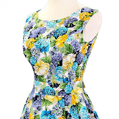Vestito Senza maniche FiftiesChic Donna Sera Blue Yellow And fwq1CdE