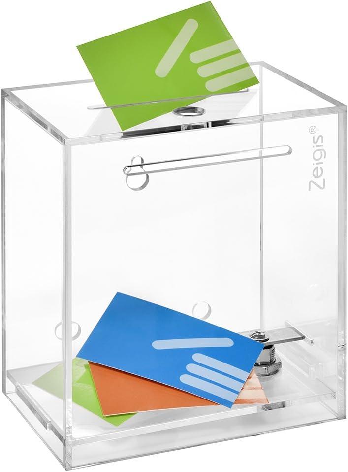 Zeigis - Urna, hucha y caja de donaciones, con cerradura, para colocar sobre una superficie plana o para montaje en pared, de acrílico transparente