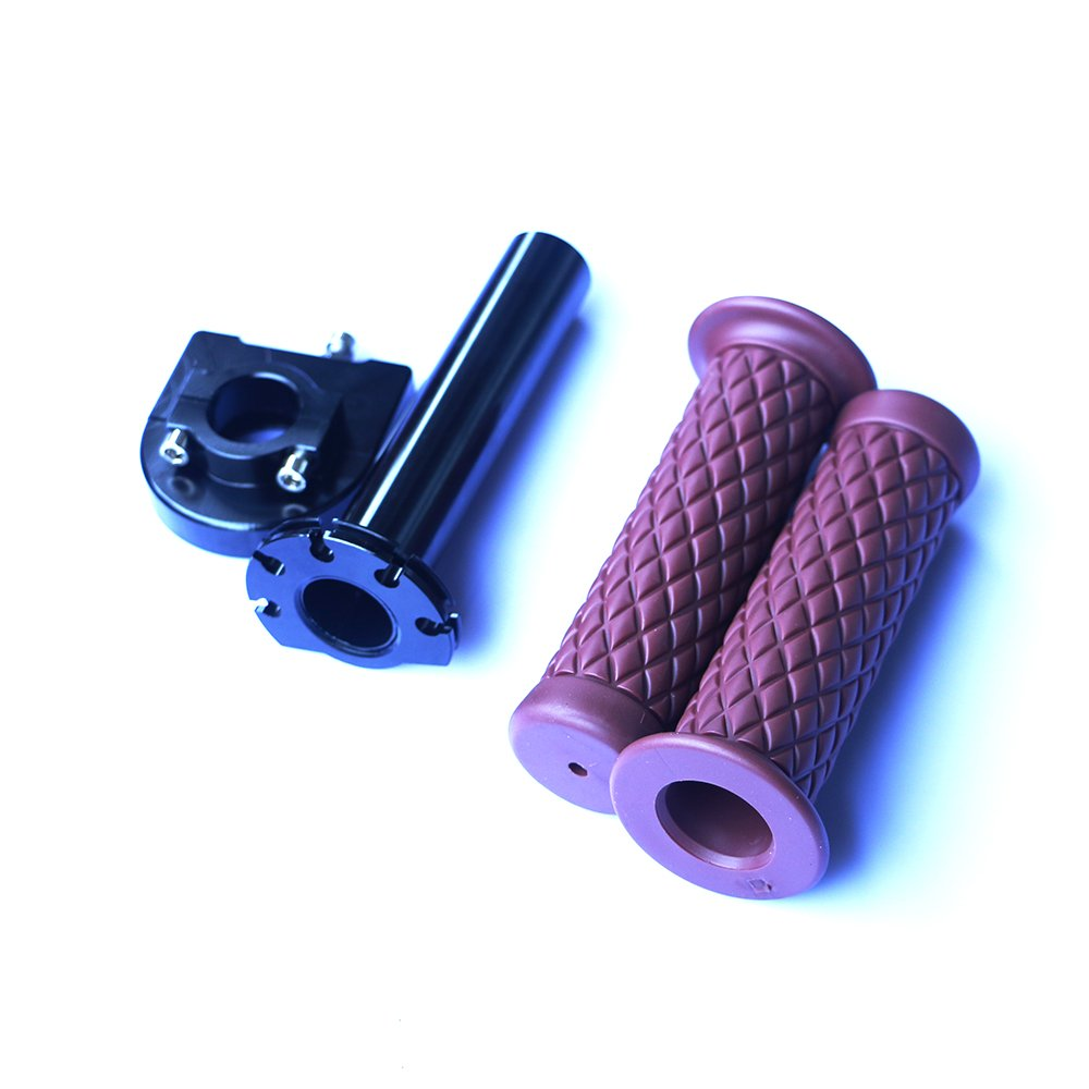 Yibid Motorcycle 7/8'' Handlebar Black Quick Twist Throttle Gas Tube Lever Control with Soft Rubber Antiskid Hand Grips for Honda Suzuki Scooter Racer Bobber Clubman Buell Sport Bike ( Coffee ) by Yibid (Image #2)