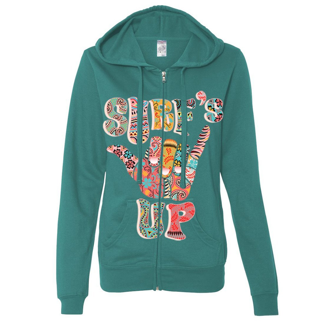 Dolphin Shirt Co Surfs Up Hang Loose Ladies Lightweight Fitted Zip-Up Hoodie